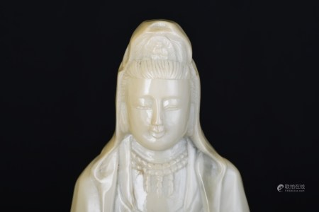 """18"""" Carved Marble Guan Yin Figure"""
