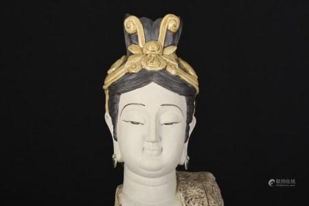 2ft High Hand Sculptured Shiwan Goddess