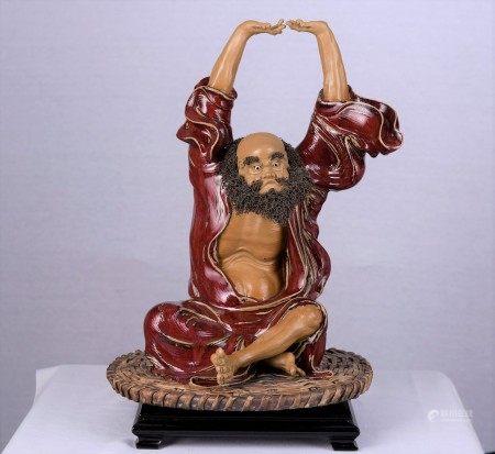 Original Shiwan Figure with Intricate Beard