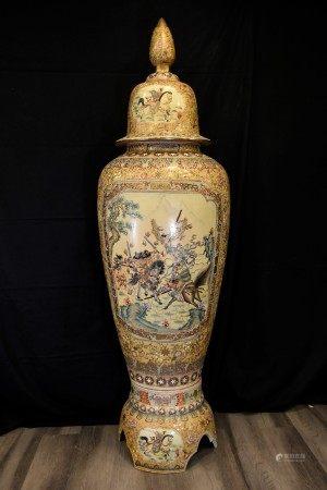 Large Hand Painted Porcelain Temple Jar