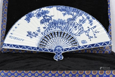Blue and White Porcelain Fan