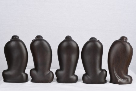 Set of 5 Very Fine Wooden Hand Carved Buddha's