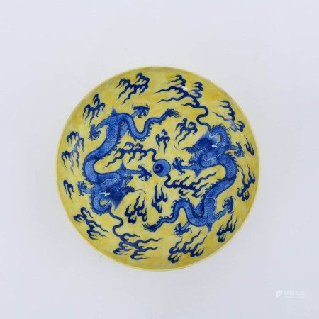 A Yellow Ground Blue and White Dragon Pattern Porcelain Plate