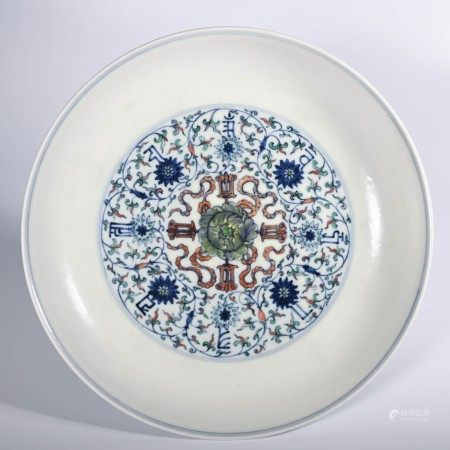A Doucai Wrapped Flowers Pattern Sanskrit Porcelain Plate