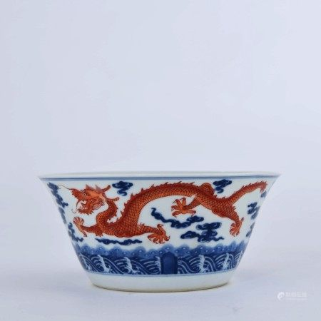 A Blue and White Iron Red Dragon Pattern Porcelain Bowl