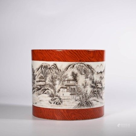 A Wood Grain Glaze Grisaille Landscape Porcelain Brush Pot