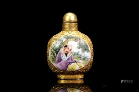 A Gilt-bronze Enamel Porcelain Snuff Bottle
