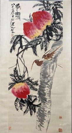 A Chinese Flower&bird Painting Scroll, Qi Baishi Mark