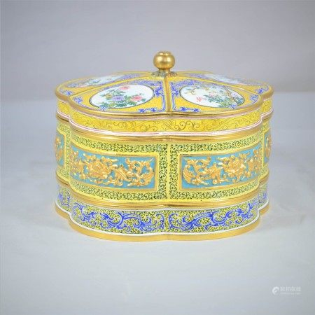A Bronze Enamel Box and cover
