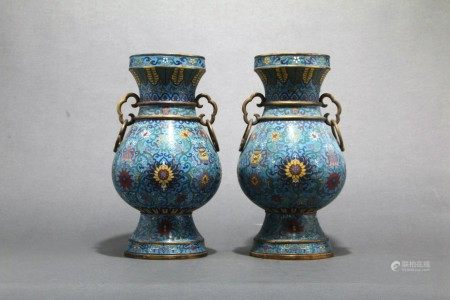 A Pair of Bronze Enamel Porcelain Vases