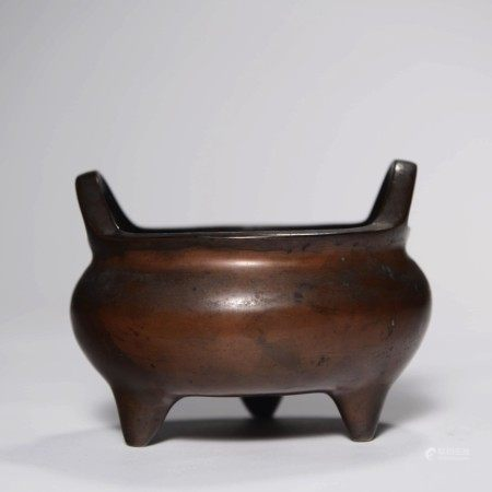 A Double Ears Bronze Tripod Incense Burner