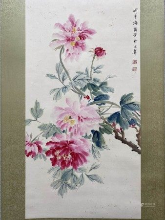 A Chinese Flower&bird Painting Scroll, Mei Lanfang Mark