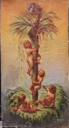 Betbeder 1842, Allégorie, huile sur toile.  73X38,5 cm