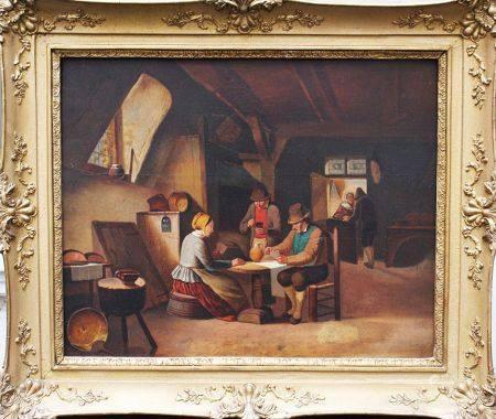 Ferdinand de Braekeleer (1792-1883) - attribué, joueurs de cartes néerlandais, huile sur pannea