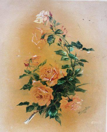 Fritz Weidinger 1909, fleurs, aquarelle sur papier. 55x47 cm