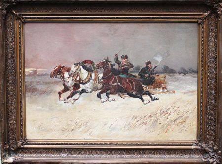 Artiste russe du 19ème siècle, Troïka, huile sur toile, encadrée, signée. 48x68 cm