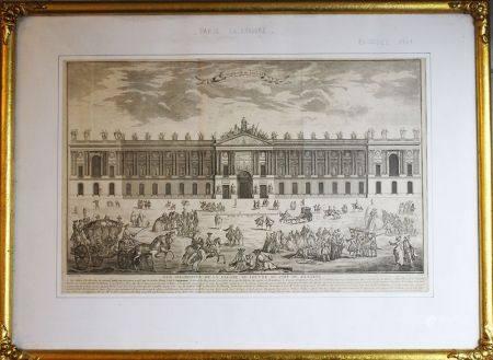 Façade du Louvre, gravure sur cuivre de Blondel 1761 avec description sur papier encadrée sous