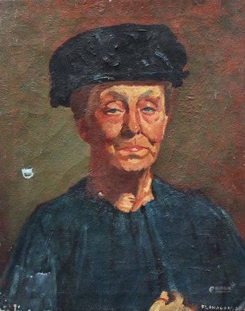 Flanagan, portrait daté de 1925, huile sur toile. 51x41 cm
