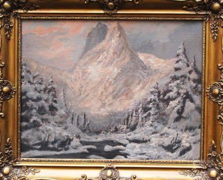 Laszlo Neogrady (1896-1962) paysage d'hiver, huile sur toile, signé encadré. 40x49 cm
