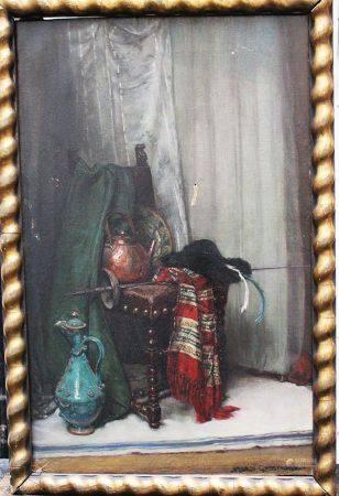Mechle - Grosmann vers 1900, style de vie, huile sur toile, encadré. 63x40 cm