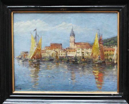 Artiste vers 1900, Piran, huile sur toile, signée en bas à gauche, encadrée. 30x38 cm