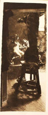 Ferdinand Schmutzer (1870-1928), gravure sur papier. 50X22cm