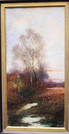 G.Titz , Paysage, huile sur toile, signé, célèbre. 52x25 cm