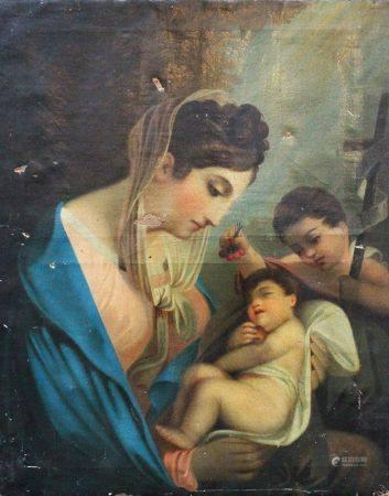 Italienne vers 1800, Maria avec Jésus et Joseph, huile sur toile. 80x64 cm