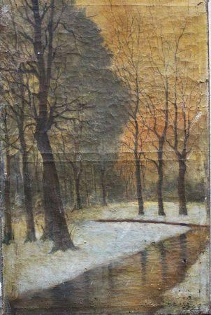Artiste russe ou polonais vers 1900, Paysage, huile sur toile, signé en bas à droite. 82x54 cm