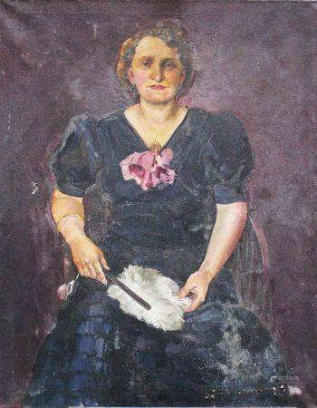 Artiste vers 1920, Portrait de femme, huile sur toile. 110x88 cm