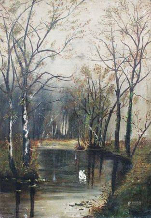 Artiste inconnu vers 1900, paysage, huile sur toile. 51x36 cm