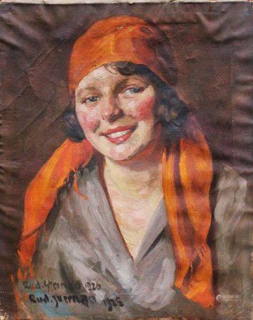 Rudolf Sternad (1880-1945), Portrait signé en bas à gauche, huile sur toile. 52x42 cm