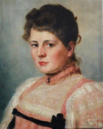 Arthur Kurtz (1860-1917), Portrait, huile sur toile, signé. 43x34 cm