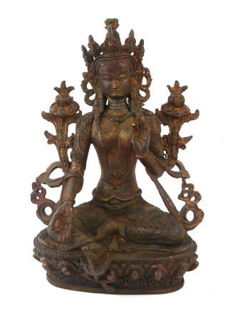 A TIBETAN BRONZE LAKSHMI BUDDHA FIGURE Seated pose flanked by two lotus flowers. (approx 23cm)