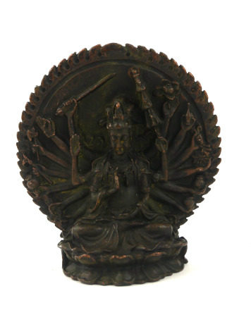 A CHINESE BRONZE MULTI ARMED BODHISATTVA FIGURE Seated pose with many arms, on a double lotus