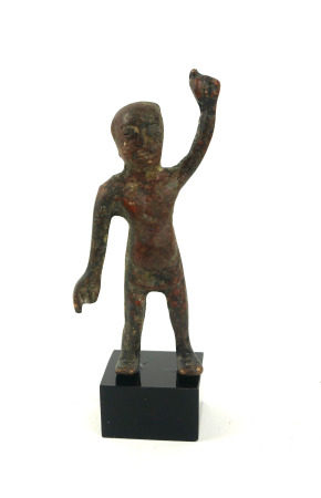 A CHINESE BRONZE WARRIOR FIGURE Standing pose with one arm raised, on black perspex base. (figure