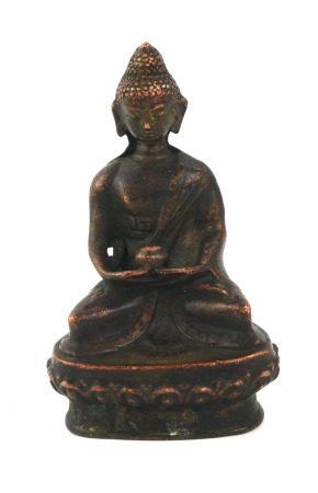 A CHINESE BRONZE BUDDHA Seated pose holding a bowlon lotus base. (approx 9cm)