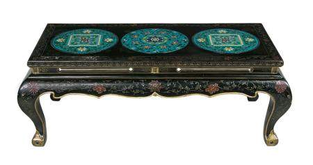 Chinese Ebonized and Cloisonne-Mounted Coffee Table