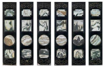 Suite of Six Chinese Ebonized Wood and Marble Panels