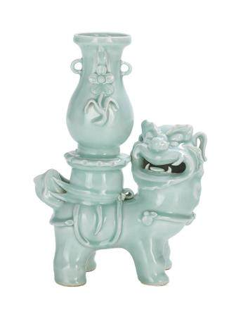 Chinese Celadon Foo Dog Vase