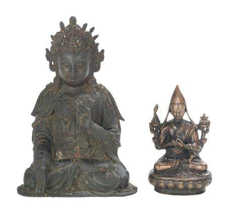 Two Asian Metal Figures of Guanyin