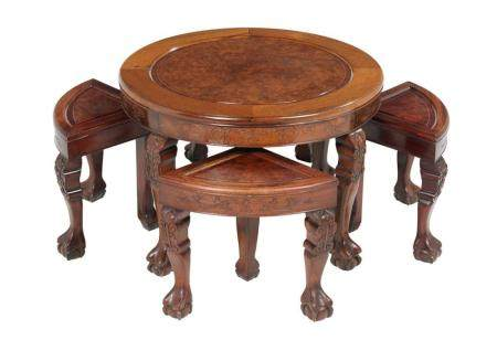 Five-Piece Suite of Mahogany Nesting Tables