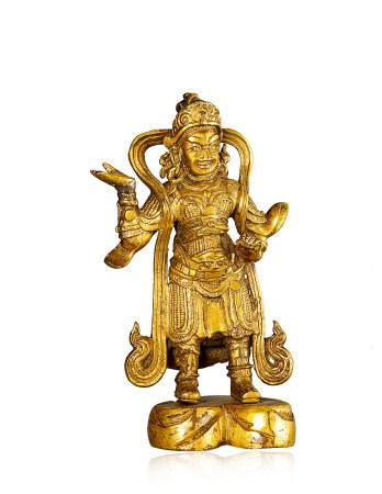 清代 銅鎏金天王像 Qing Dynasty GILT-BRONZE STATUE OF GOD KING