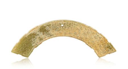 戰國 青玉穀紋璜 Warring States Period GREENISH JADE CARVED PENDANT WITH DESIGN OF GRAIN, HUANG