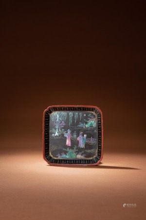 清初 風景人物圖黑漆螺鈿盤「千里」款