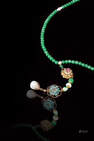 翡翠珠鍊108顆與多寶墜飾