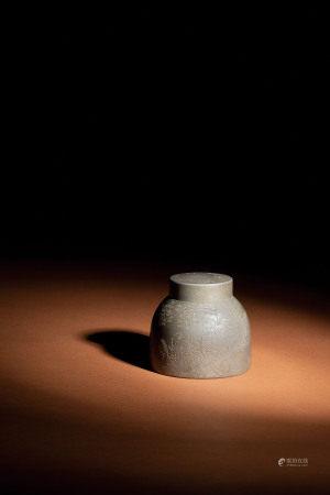 清 錫茶葉罐 題詩煮茶圖