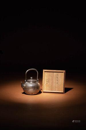 大正三年「一鶴齋造」純銀湯沸(原共箱)