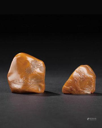 清 壽山石薄意雕印石2個