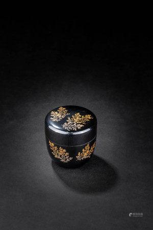 日本大正 黑漆描金香盒